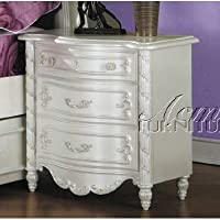 ACME 01013 Pear Nightstand, Pearl White Finish