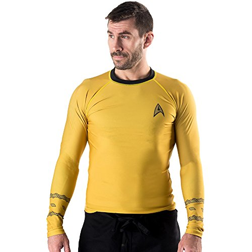 Fusion Fight Gear Star Trek Classic Uniform BJJ Rash Guard Compression Shirt- Gold (M) by Fusion Fight Gear