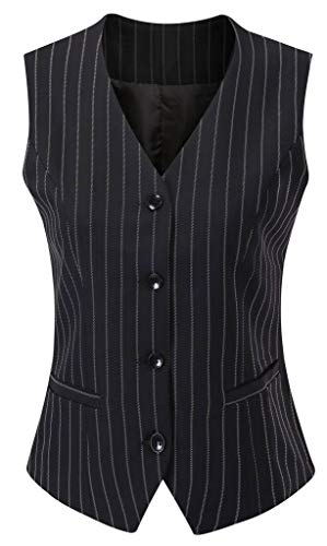 Vocni Women's Fully Lined 4 Button V-Neck Economy Dressy Suit Vest Waistcoat,Black Pinstripe_1,US S+ (Fit Bust 35''-37.4'')-Tag 2XL by Vocni