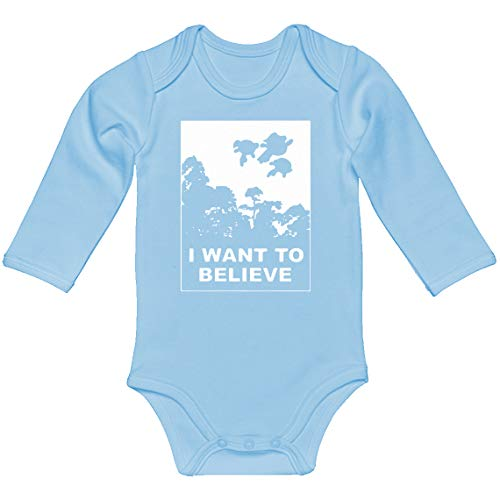 Indica Plateau Baby Romper I Want to Believe Super Girls Light Blue for Newborn Long-Sleeve Infant Bodysuit