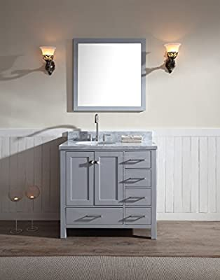 "Ariel A037S-L-GRY Cambridge 37"" Inch Single Sink Solid Wood Bathroom Vanity Set W/ Left Offset Sink In Gray and WhiteCarrara Marble Countertop"