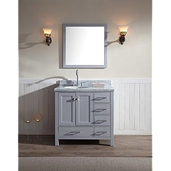 Elegant ARIEL A037S L GRY Cambridge 37u201d Inch Single Sink Solid Wood Bathroom Vanity