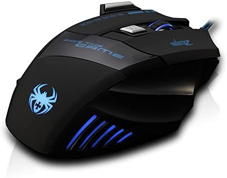 AFUNTA Zelotes Ergonomic 7200 DPI LED Optical Wired Gaming Mouse Mice 7 Buttons Compatible Mac Pro Gamer PC Laptop Desktop Notebook-Black Black(T80) 41MIDpyPc2L