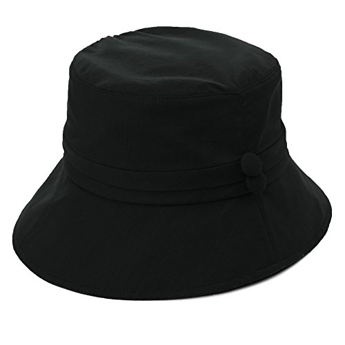 Siggi Womens Bucket Cord Sun Summer Beach Hat with Narrow Brim for Ladies Foldable UPF50+ Black
