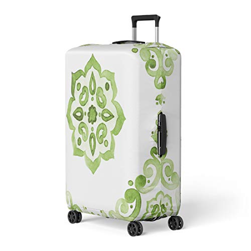 Pinbeam Luggage Cover Green Watercolor Lace Pattern on Color of the Travel Suitcase Cover Protector Baggage Case Fits 26-28 ()