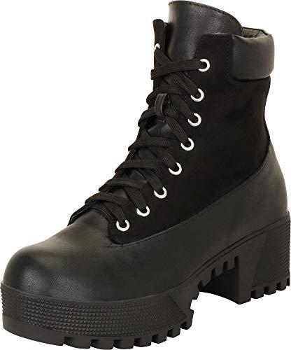 Cambridge Select Women's Retro 90s Lace-Up Chunky Lug Platform Block Heel Combat Boot,11 B(M) US,Black - Shoe Trendy Black Goth Platform