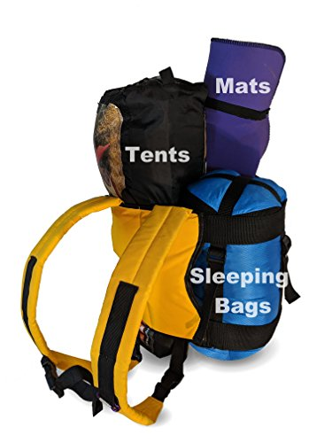 Camping Backpack for Tents, Sleeping Bags and Mat Rolls Gold