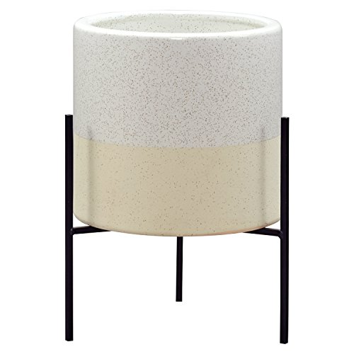 - Rivet Mid-Century Modern Ceramic Indoor Outdoor Planter Flower Pot with Iron Stand - 14 Inch, White