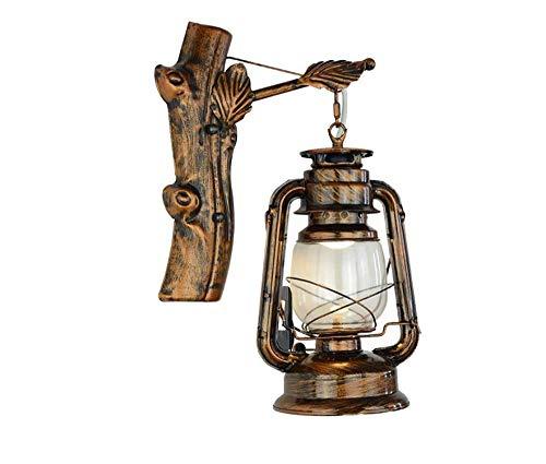 Wall Light Retro Kerosene Lamp Bronze Old Bar Restaurant Cafe Hallway Lamp Wrought Iron Twig Leaves Horse Lantern Wall Lamp ()