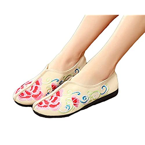 Traditional Embroidery Flats Casual Walking Shoes for Women