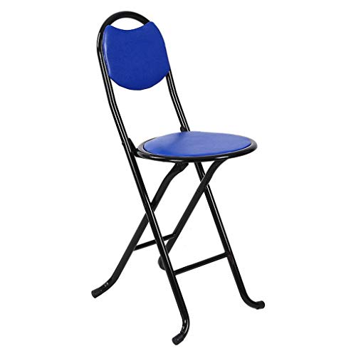 - MCLY Shower Seats, Blue PU Leather Stool Portable Folding Round Shower Stool/Elderly/Disabled/Pregnant Women/Home Simple Stool