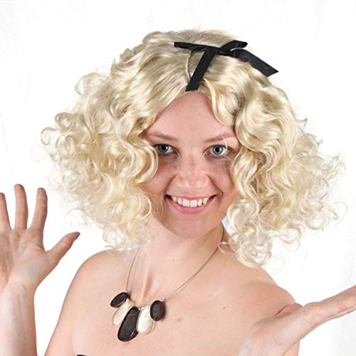 Short Curly Wig for Women, Blonde Wavy Hair Wig Marilyn Monroe Wig Sexy New Fashion Synthetic Hair Full Wigs Heat Resistant Natural Looking Halloween Party Costume Cosplay Fancy Dress]()