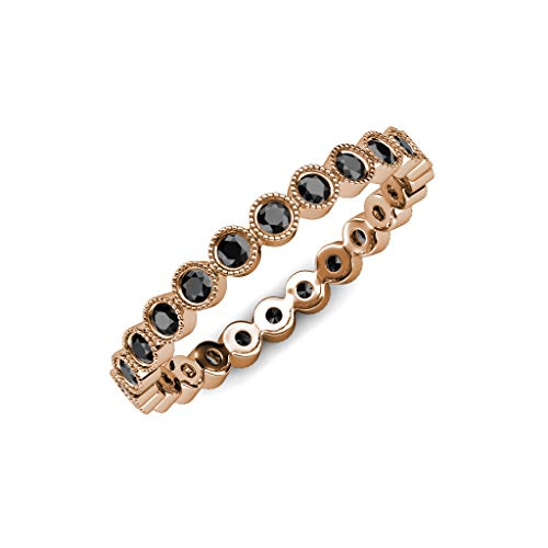 (TriJewels Black Diamond 2.4mm Bezel Set Milgrain Eternity Band 0.84 ctw to 0.95 ctw 14K Rose Gold.size 6.0)