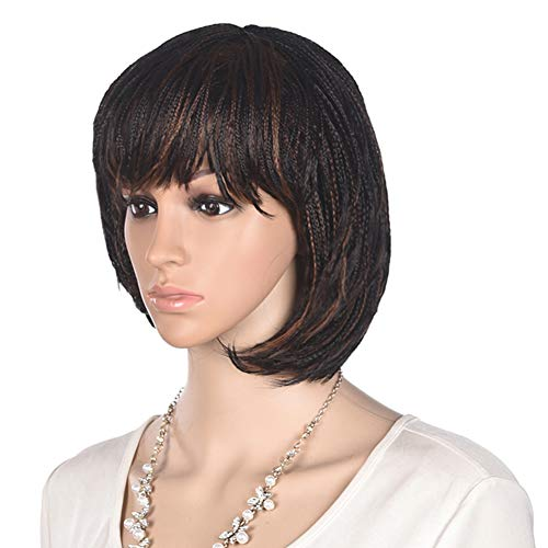 12 inch Short Braids Wigs for Black Women, African American Synthetic Crochet Box Braid Wigs with Bangs (1B/30)