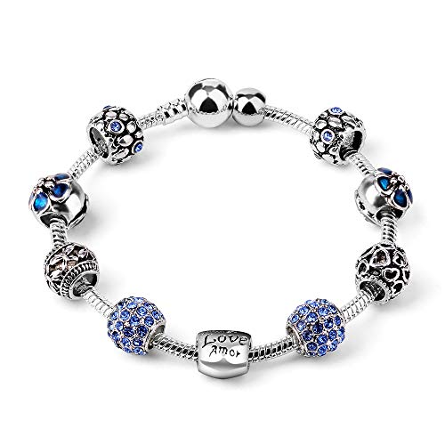 XiLiDe Charm Beads for Bracelet Blue Enameled Heart Silver Plated The Love Charm Bracelet European Style Snake Chain Bracelet Gifts for Women