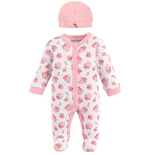 Luvable Friends Baby Sleep N Play and Cap, Floral, Preemie (Preemie Pajamas)