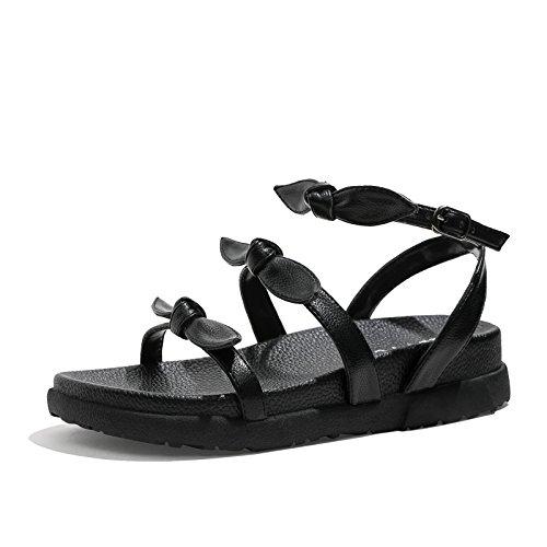 Las Moda Sandalias Casual Planos de YMFIE Verano la de Playa la Calzan los Bohemia black Retros del Antideslizantes de Zapatos cómodos dXBwnf
