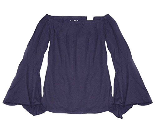Ann Taylor Loft Womens Velvet Trim Bell Sleeve Shoulder Tee  Small  Violet