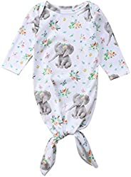 Tuyounger Newborn Baby Boy Girl Sleeper Gowns,0-6 Months Unisex Striped Sleeping Bags Swaddle Sack Coming Home
