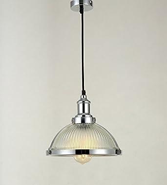 Maxmer Lámpara Colgante Luz Vintage Lámpara Industrial Lámpara de Techo Retro Casquillo E27 Cromado: Amazon.es: Iluminación