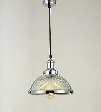 Maxmer Lámpara Colgante Luz Vintage Lámpara Industrial Lámpara de Techo Retro Casquillo E27 Cromado