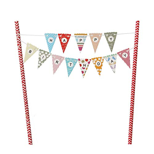 EL-SKY Mini Happy Birthday Cake Bunting Banner Cake Topper Garland - Handmade Pennant Flags with Red Dots Straw Pole, Party Cake Decoration Supplies ()