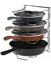 SimpleHouseware Kitchen Cabinet 5 Adjustable Compartments Pan and Pot Lid Organizer Rack Holder, Chrome
