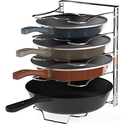 Frying Rack Set - Kitchen Cabinet 5 Adjustable Compartments Pan and Pot Lid Organizer Rack Holder, Chrome