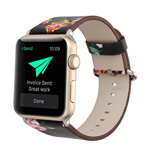 TCSHOW For Apple Watch Band 38mm,38mm Soft PU Leather Pastoral/Rural Style Replacement Strap Wrist Band with Silver Metal Adapter for both Series 1 and Series 2