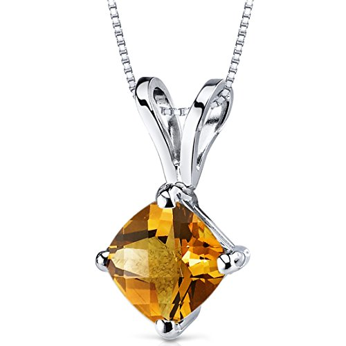 14 Karat White Gold Cushion Cut 1.00 Carats Citrine ()
