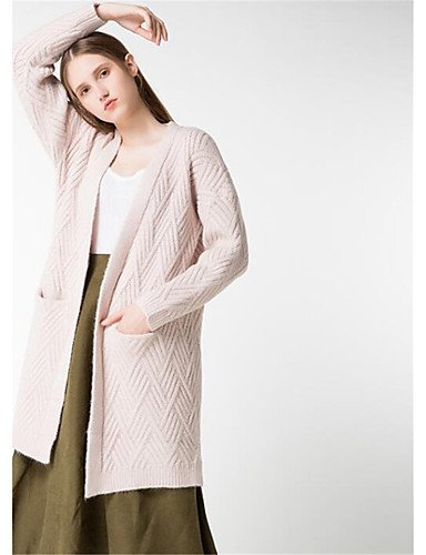 Sleeves Beige Solid Long Long Casual Micro Wool Polyester Winter Halter Fall Medium Cotton Daily Women'S Simple Cardigan Elastic Print Xuanku xqYfwzHvvI