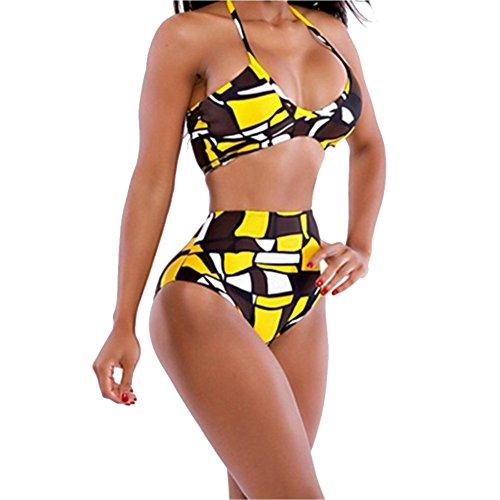 POPOJUJI Womens Two Piece Yellow Bikini Swimwear Accessory Swimming - Shopping Panama Fl City
