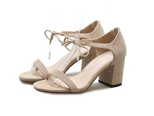 frontal audaces abierta alto de Sandalias punta de paquete con Heel sujeción correa 36 Shoes 39 beige zapatos con Transpirable Moda de elegante mujer tonos con 7cm AJUNR nYABxq78Yw
