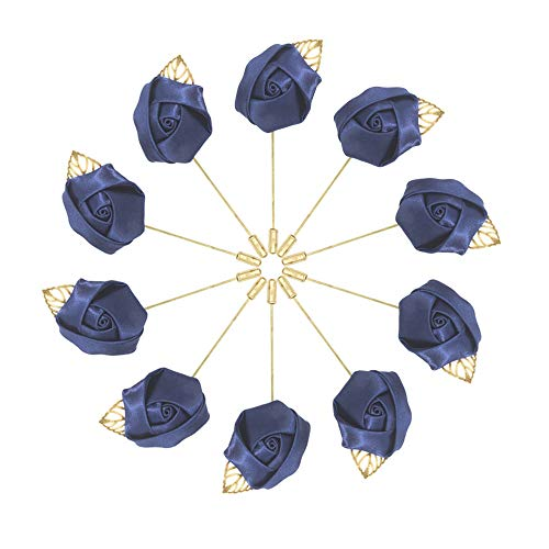 10pcs Wedding Lapel Flower Pin Rose for Man Suit Decoration (Navy blue)