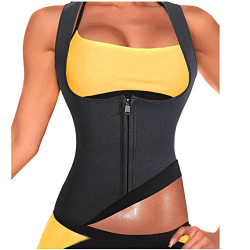 Rolewpy Women Sweat Neoprene Waist Trainer Hot Slimming Sauna Vest Tummy Control Body Shaper for Weight Loss (Black Workout Suit, 2XL(US 18))