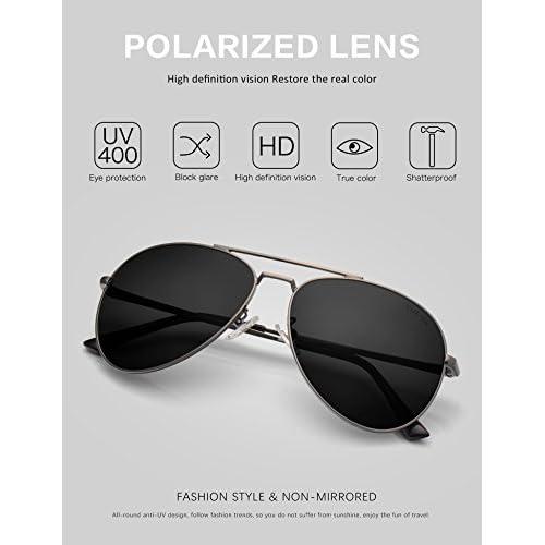 7163a86129 LUENX Hombre Gafas de sol Aviador polarizado con estuche - UV 400 No Espejo  de protección