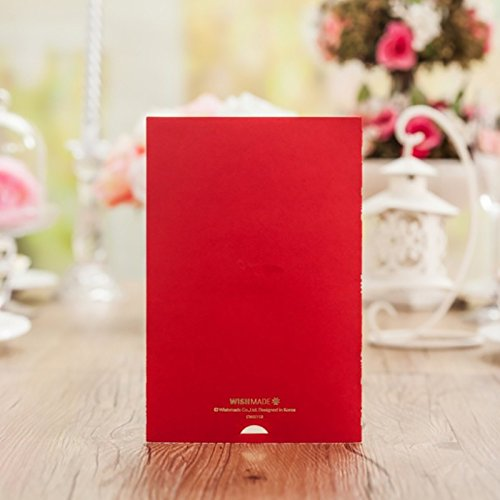 Red Lace Flower Invitation Cards Laser Cut Hollow-out Floral with Ribbon Bow Wedding Announce Invitations CW5113 (100) by Wishmade (Image #5)