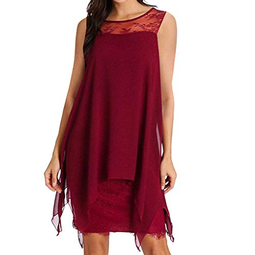 ZSBAYU Women's A-Line Pleated Chiffon Overlay Sleeveless Little Cocktail Loose Dress Lace Flowy Beach Party Dress Plus Size(Red,L)]()