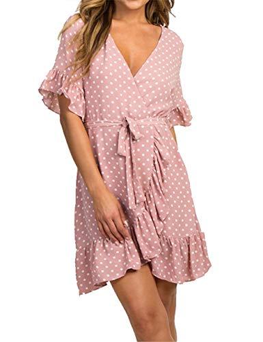 LOMON Women's V Neck Ruffle Polka Dot Short Sleeve Cocktail Sundress Skater Dresses with Belt Pink S