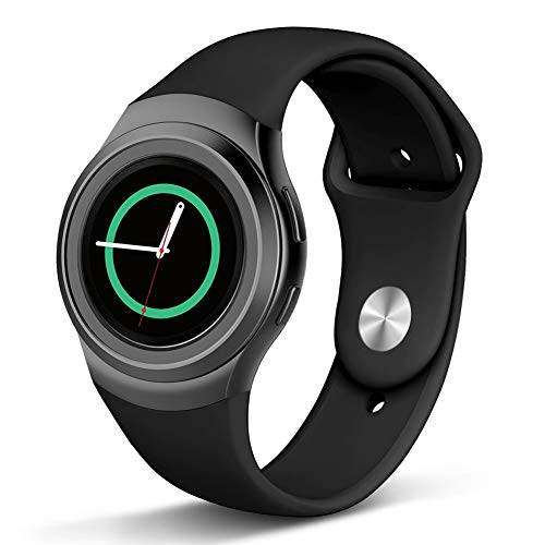 Compatible Gear S2 Band, Soft Silicone Straps Sport Bands Adjustable Replacement Wristband Watch Bracelet for Samsung Gear S2 Smartwatch, Small, Black