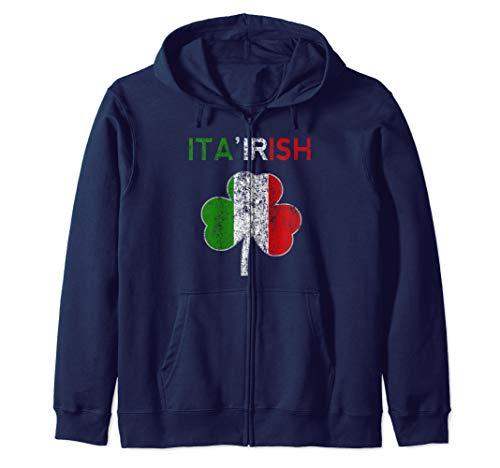 Ita'Irish Funny St Patricks Day Italian Men Women Kids Italy Zip Hoodie