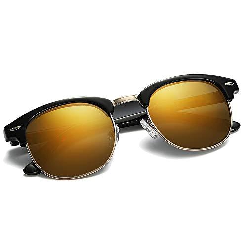 Polarized Sunglasses for Women and Men - wearPro Semi-Rimless Men Sunglasses polarized uv protection WP2006 (orange/black, ()