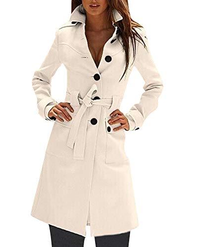 Elégant Pardessus Blanc Bouton Coat Woman Trench Revers Quge 5wHWqZB77