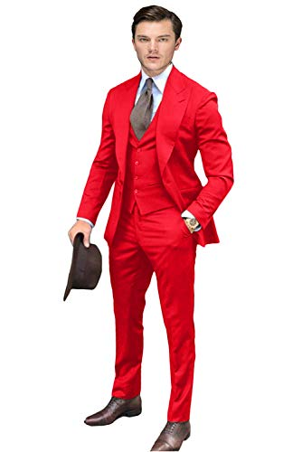 Wemaliyzd Men's 3 Pieces Prom Suit One Button Business Blazer Vest Pants FZ009-BWT(Red,54R)