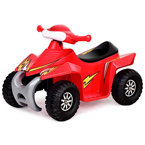 (Costzon Kids Ride On Quad, 6V Battery Power Electric Car Vehicle, 4 Wheel Power Bicycle for Toddlers with Light (Red))
