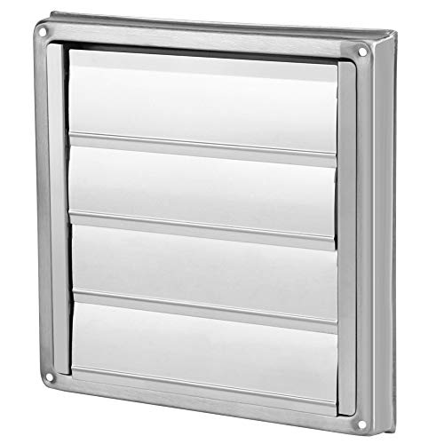 Nikou Air Vent Cover - 100mm Air Vent Duct Grill Stainless Steel Wall Square Tumble Dryer Extractor Fan Outlet