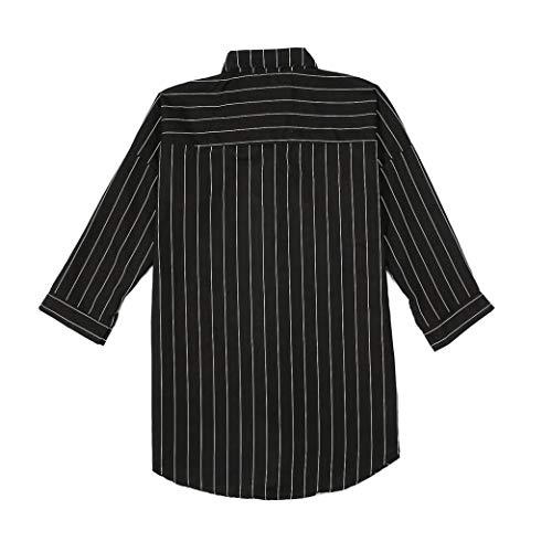 Longues Collier Manches Mode Noir 3 4 Automne rayes Chemisier Hiver T OL Manches Shirt Couverture Tailles Femme Femmes Plus Chemisier Occasionnelles JIANGfu de FXxCI
