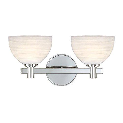 Mercury 2-Light Vanity Light - Polished Chrome Finish with White Swirl Glass Shade