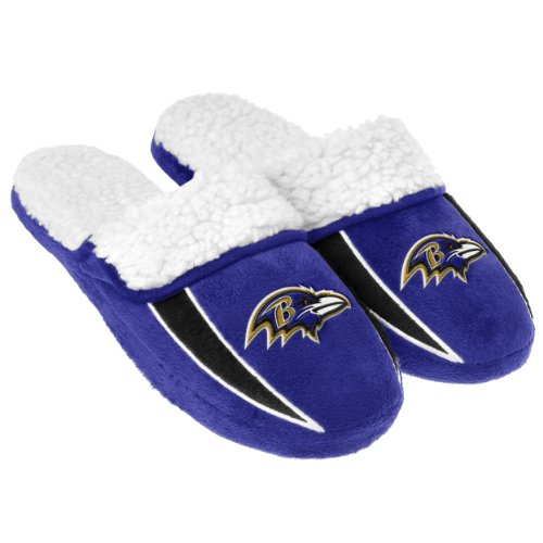 FOCO NFL Baltimore Ravens Mens Team Logo Sherpa Slippersteam Logo Sherpa Slippers, Team Color, Medium -