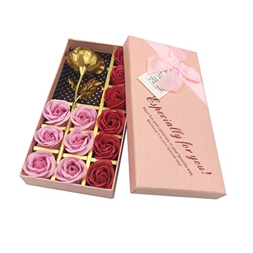 12 Pcs Artificial Rose Floral Scented Bath Soap Rose Flower Petals with 1 Gold Foil Rose, Gift for Birthday/Wedding/Valentine's Day/Mother's Day (Pink) (Rose Petal Scented Bath)